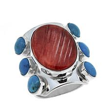 Jay King Turquoise and Spiny Oyster Shell Sterling Silver Ring