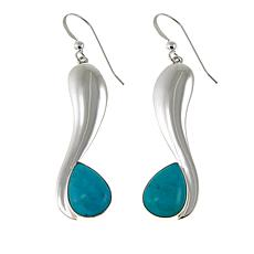 Jay King Turquoise Hill Turquoise Curved Drop Sterling Silver Earrings