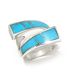 Jay King Turquoise Inlay Sterling Silver Bypass Ring