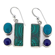 Jay King Turquoise, Lapis and Malachite Sterling Silver Earrings