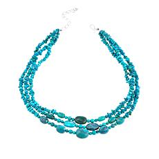 "Jay King Turquoise Nugget, Chip and Round Bead 3-Strand 18"" Necklace"
