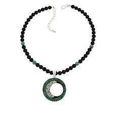 Jay King Turquoise Pendant with Black Chalcedony Bead Necklace