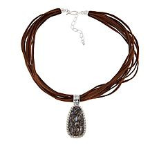 Jay King Turritella Stone Pendant with Multi-Strand Suede Necklace