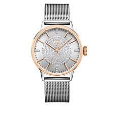 "JBW ""Belle"" 2-tone 12-Diamond Mesh Band Watch"
