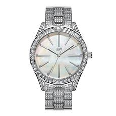 "JBW ""Cristal"" Women's Silvertone 12-Diamond Mother-of-Pearl  Watch"