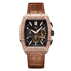 "JBW  ""Echelon"" Men's Rosetone .28ctw Croco-Embossed Leather Watch"