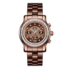 "JBW ""Laurel"" 9-Diamond Brown Dial Metallic Brown Stainless Steel Watch"