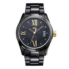 JBW Men's Bond Black Stainless Steel Diamond Bracelet Watch