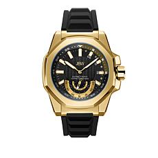 "JBW Men's ""Delmare"" 4-Diamond Goldtone Black Silicone Band Watch"