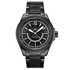 "JBW Men's ""Globetrotter"" 21-Diamond Black GMT Bracelet Watch"