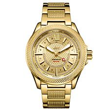 "JBW Men's ""Globetrotter"" 21-Diamond Goldtone GMT Bracelet Watch"