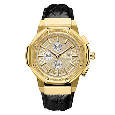 "JBW Men's ""Saxon"" 16-Diamond Goldtone Black Leather Watch"