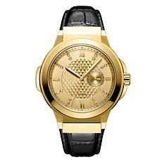 "JBW Men's ""Saxon"" 16-Diamond Goldtone Black Leather Watch"