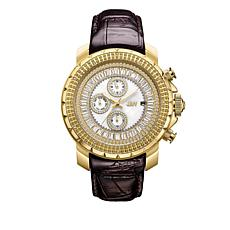 "JBW Men's ""Titus"" 12-Diamond Brown Leather Watch"