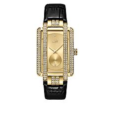 "JBW ""Mink"" Goldtone Women's 2-Diamond Black Leather Watch"