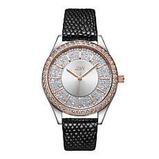 "JBW ""Mondrian"" 12-Diamond 2-Tone Rosetone Black Leather Watch"