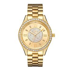 JBW Mondrian 18K Gold-Plated Diamond and Crystal Bracelet Watch