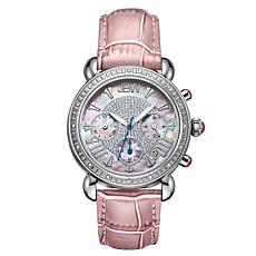 "JBW ""Victory"" 16-Diamond Pink Leather Chronograph Watch"