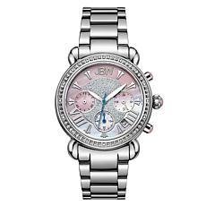 "JBW ""Victory"" Silvertone Stainless Steel Women's 16-Diamond Watch"