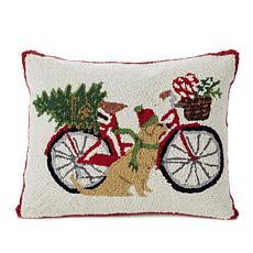 Jeffrey Banks Bike Tree Hand-Hooked Wool Pillow