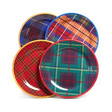 Jeffrey Banks Designer Plaid 4-piece Dinner Plates