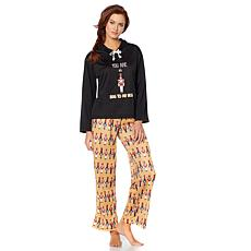 Jeffrey Banks Hoodie & Pants 2-piece Holiday Pajama Set