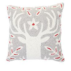 Jeffrey Banks Hooked Holiday Pillow - Reindeer