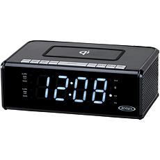 Jensen QiCR-200 Dual Alarm Clock Radio with Qi Charging