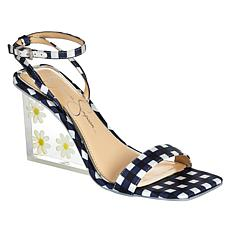 Jessica Simpson Aysie Gingham-Print Acrylic Wedge Dress Sandal