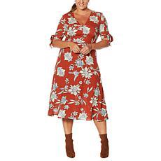 Jessica Simpson Cecilia Printed Ruffle-Hem Midi Dress