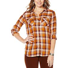 Jessica Simpson Petunia Button-Down Plaid Shirt
