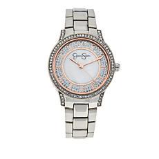 Jessica Simpson Women's Pavé Crystal Mother-of-Pearl Bracelet Watch