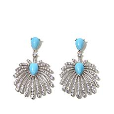 Jewels by Jen Simulated Turquoise Fan Drop Earrings