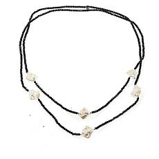 "JK NY 60"" Simulated Pearl Beaded Station Necklace"