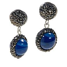 JK NY Agate Bead Drop Pavé Earrings