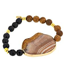 JK NY Agate Station Colored Bead Stretch Bracelet