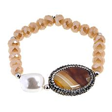 JK NY Agate Station Simulated Pearl Stretch Bracelet