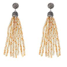 JK NY Clear and Black Pear-Shaped Tassel Earrings