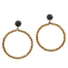 JK NY Faceted Bead Hoop Drop Pavé Earrings