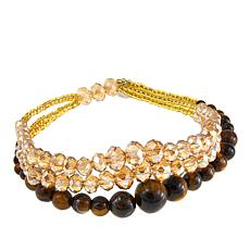 JK NY Graduated 3-Row Beaded Stretch Bracelet