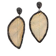 JK NY Leaf Design Beaded Frame Drop Earrings