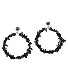 JK NY Nugget Stone Hoop Drop Earrings
