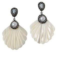 JK NY Pavé Stone Simulated Shell Fan Earrings
