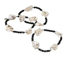 JK NY Simulated Pearl Beaded 3-piece Stretch Bracelet Set