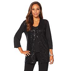 Joan Boyce Black Sequin Front Knit Topper