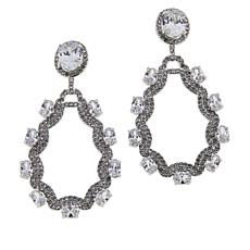 Joan Boyce Crystal Scalloped Oval Drop Earrings