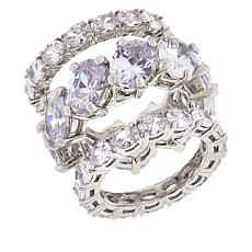 Joan Boyce Cubic Zirconia Oval Stone 3-Piece Band Ring Set