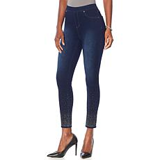 Joan Boyce Embellished Stretch Denim Medium Wash Legging