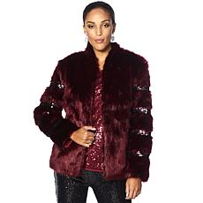 Joan Boyce Faux Fur Jacket with Sequins
