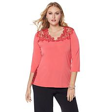 Joan Boyce Lace Detailed Reversible 3/4-Sleeve Top